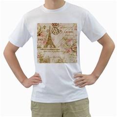 Floral Eiffel Tower Vintage French Paris Art Mens  T-shirt (White)