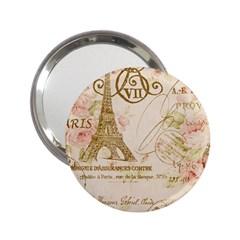 Floral Eiffel Tower Vintage French Paris Art Handbag Mirror (2.25 )