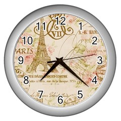 Floral Eiffel Tower Vintage French Paris Art Wall Clock (Silver)