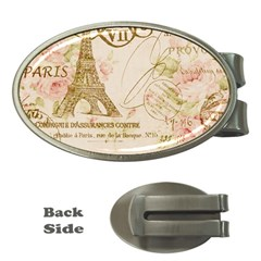 Floral Eiffel Tower Vintage French Paris Art Money Clip (Oval)