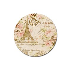 Floral Eiffel Tower Vintage French Paris Art Magnet 3  (round)