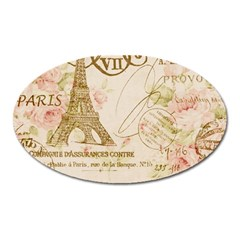 Floral Eiffel Tower Vintage French Paris Art Magnet (Oval)