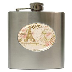 Floral Eiffel Tower Vintage French Paris Art Hip Flask