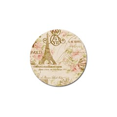 Floral Eiffel Tower Vintage French Paris Art Golf Ball Marker 4 Pack
