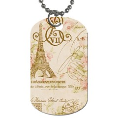 Floral Eiffel Tower Vintage French Paris Art Dog Tag (Two-sided)