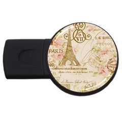 Floral Eiffel Tower Vintage French Paris Art 2GB USB Flash Drive (Round)