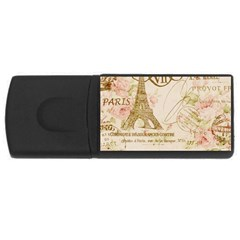 Floral Eiffel Tower Vintage French Paris Art 2GB USB Flash Drive (Rectangle)