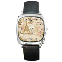 Floral Eiffel Tower Vintage French Paris Art Square Leather Watch