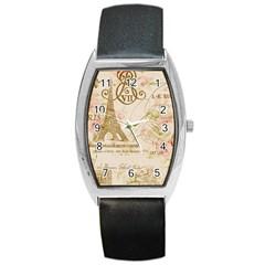 Floral Eiffel Tower Vintage French Paris Art Tonneau Leather Watch