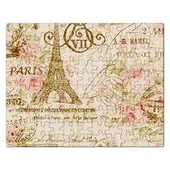 Floral Eiffel Tower Vintage French Paris Art Jigsaw Puzzle (Rectangle)