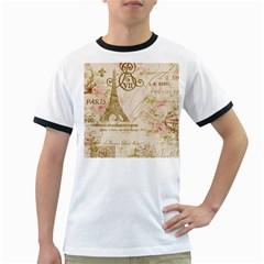 Floral Eiffel Tower Vintage French Paris Art Mens' Ringer T-shirt