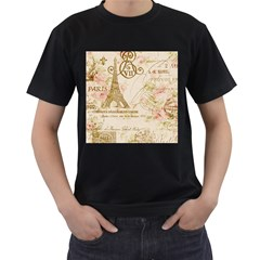 Floral Eiffel Tower Vintage French Paris Art Mens' Two Sided T-shirt (Black)