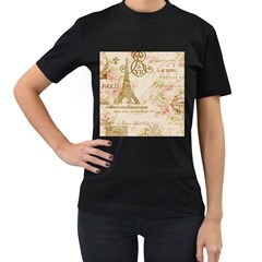Floral Eiffel Tower Vintage French Paris Art Womens' Two Sided T-shirt (Black)
