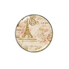 Floral Eiffel Tower Vintage French Paris Art Golf Ball Marker 4 Pack (for Hat Clip)