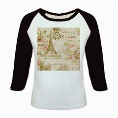 Floral Eiffel Tower Vintage French Paris Art Women s Long Cap Sleeve T-Shirt