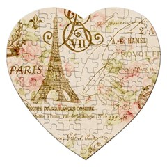 Floral Eiffel Tower Vintage French Paris Art Jigsaw Puzzle (Heart)