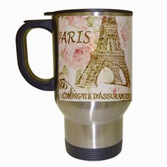 Floral Eiffel Tower Vintage French Paris Art Travel Mug (white)