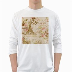 Floral Eiffel Tower Vintage French Paris Art Mens' Long Sleeve T-shirt (White)