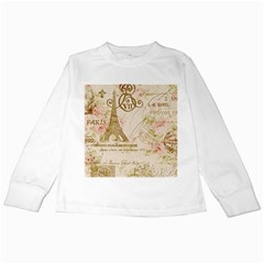 Floral Eiffel Tower Vintage French Paris Art Kids Long Sleeve T-Shirt