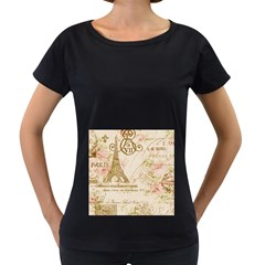 Floral Eiffel Tower Vintage French Paris Art Womens' Maternity T Shirt (black)