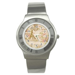 Floral Eiffel Tower Vintage French Paris Art Stainless Steel Watch (Unisex)