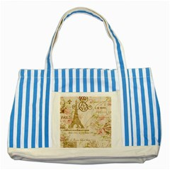 Floral Eiffel Tower Vintage French Paris Art Blue Striped Tote Bag