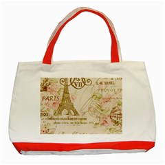 Floral Eiffel Tower Vintage French Paris Art Classic Tote Bag (Red)