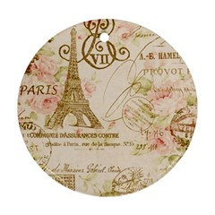 Floral Eiffel Tower Vintage French Paris Art Round Ornament (Two Sides)