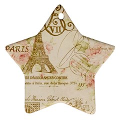 Floral Eiffel Tower Vintage French Paris Art Star Ornament (two Sides)