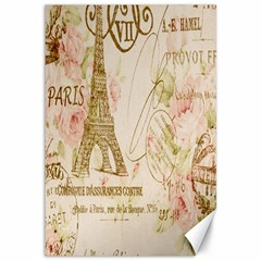 Floral Eiffel Tower Vintage French Paris Art Canvas 12  x 18  (Unframed)