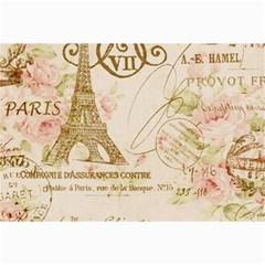 Floral Eiffel Tower Vintage French Paris Art Canvas 24  x 36  (Unframed)