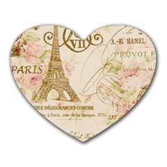Floral Eiffel Tower Vintage French Paris Art Mouse Pad (heart)