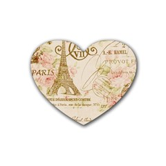 Floral Eiffel Tower Vintage French Paris Art Drink Coasters 4 Pack (Heart)