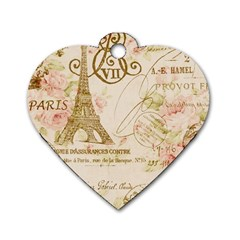 Floral Eiffel Tower Vintage French Paris Art Dog Tag Heart (Two Sided)