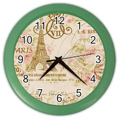 Floral Eiffel Tower Vintage French Paris Art Wall Clock (Color)