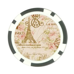 Floral Eiffel Tower Vintage French Paris Art Poker Chip