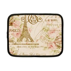 Floral Eiffel Tower Vintage French Paris Art Netbook Case (Small)