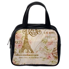 Floral Eiffel Tower Vintage French Paris Art Classic Handbag (One Side)