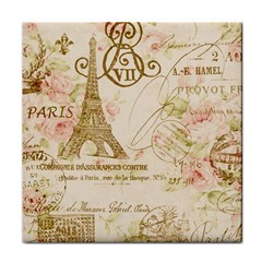 Floral Eiffel Tower Vintage French Paris Art Face Towel