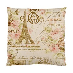 Floral Eiffel Tower Vintage French Paris Art Cushion Case (Two Sided)
