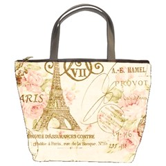 Floral Eiffel Tower Vintage French Paris Art Bucket Bag