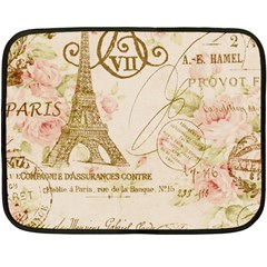 Floral Eiffel Tower Vintage French Paris Art Mini Fleece Blanket (Two Sided)