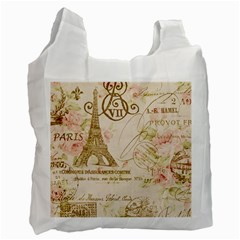 Floral Eiffel Tower Vintage French Paris Art Recycle Bag (one Side)