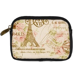 Floral Eiffel Tower Vintage French Paris Art Digital Camera Leather Case