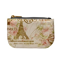Floral Eiffel Tower Vintage French Paris Art Coin Change Purse