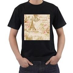 Floral Eiffel Tower Vintage French Paris Art Mens' T-shirt (Black)