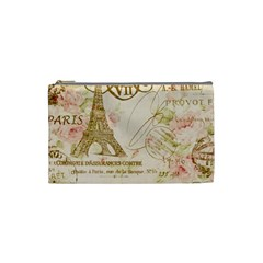 Floral Eiffel Tower Vintage French Paris Art Cosmetic Bag (Small)