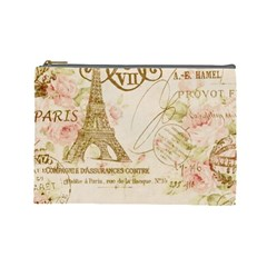 Floral Eiffel Tower Vintage French Paris Art Cosmetic Bag (Large)