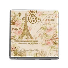 Floral Eiffel Tower Vintage French Paris Art Memory Card Reader with Storage (Square)