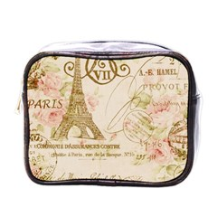 Floral Eiffel Tower Vintage French Paris Art Mini Travel Toiletry Bag (One Side)